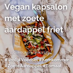 Vegan kapsalon met zoete aardappel friet @dekeukenvankarlijn