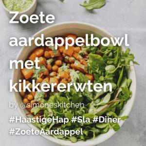Lees meer over het artikel Zoete aardappelbowl met kikkererwten @simoneskitchen
