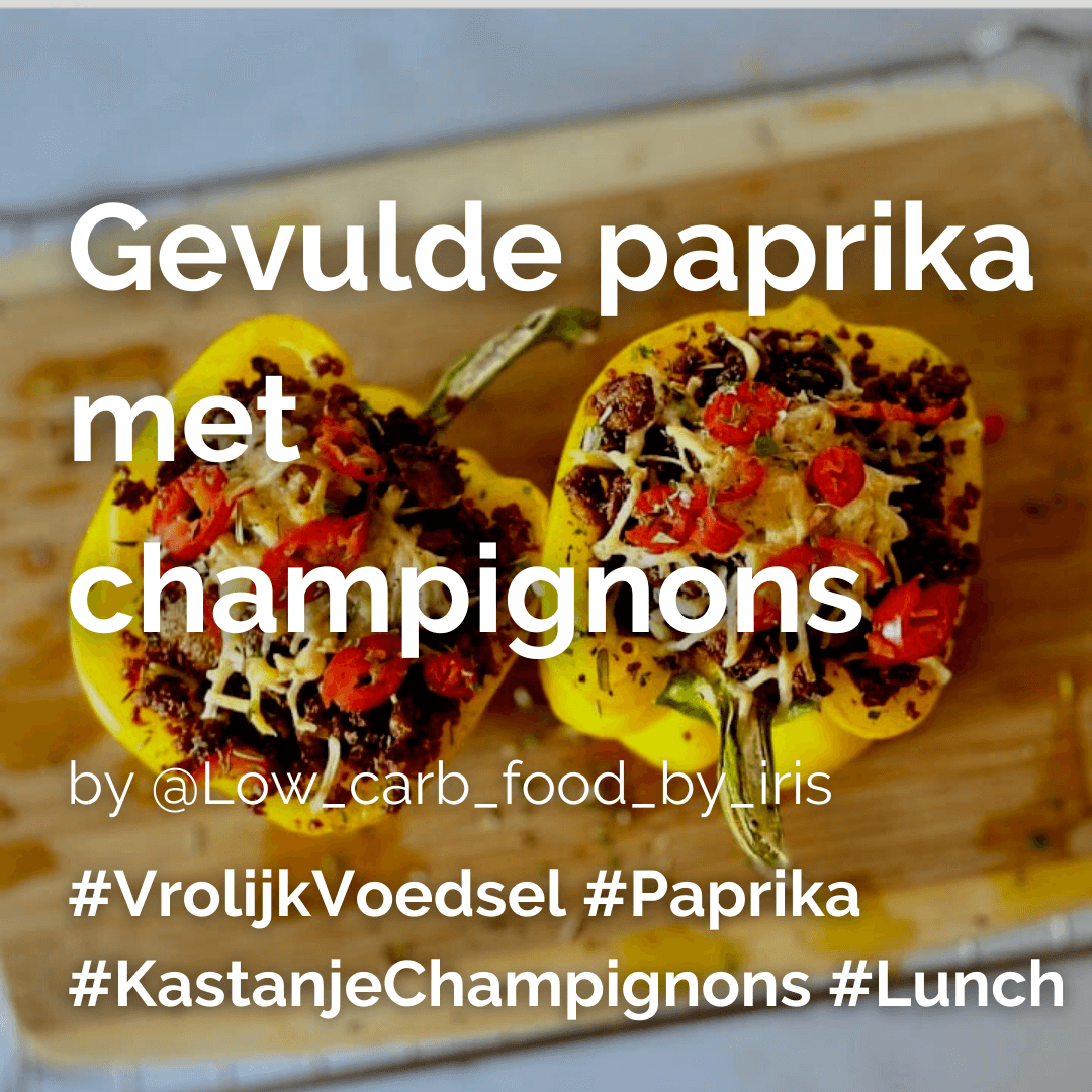 Gevulde paprika met champignons @lowcarbfoodbyiris